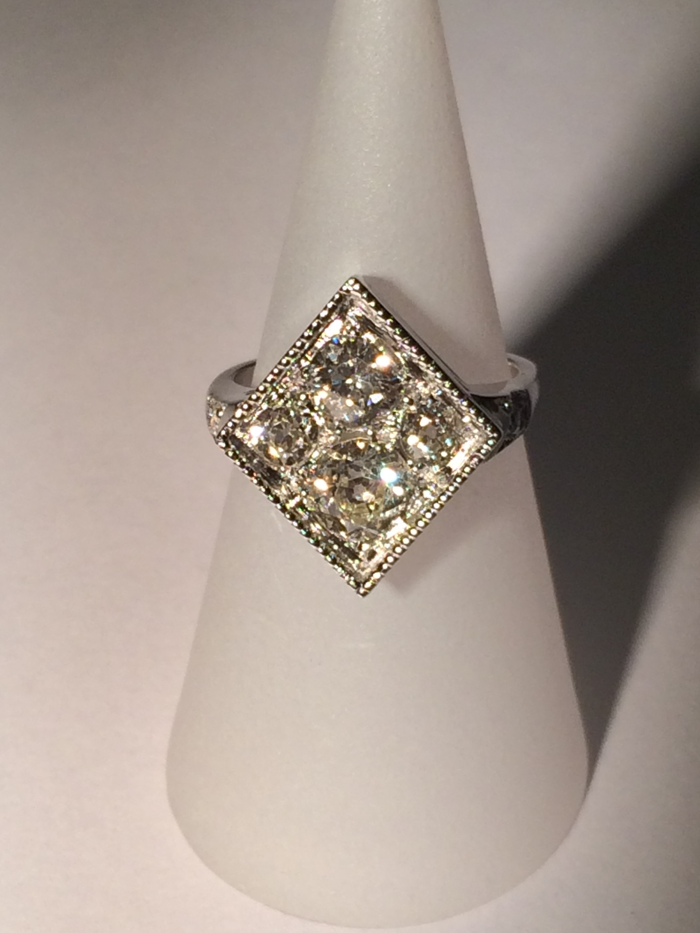 gold square diamond cluster ring